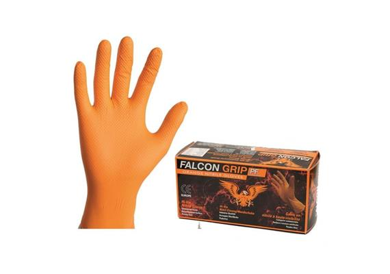 Falcon Grip HI-Vis, extrafeste Nitrilhandschuhe /L
